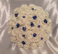 WEDDING FLOWERS ARTIFICIAL ROYAL BLUE / IVORY FOAM ROSE WEDDING BRIDES BOUQUET